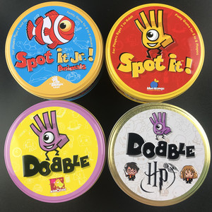 Dobble Card Game Style Spot It Toy Iron Box Sport Go Camping Hip Kids Board Games Gift Animals Alphabet123