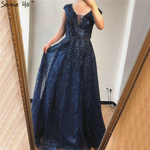 Image 4 - Pink V Neck Evening Dresses Long 2020 Lace Beading Crystal Sleeveless A Line Evening Gowns Serene Hill LA70225