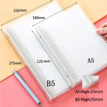A4 A5 B5 Loose-leaf folder plastic frosted metal binder data file contains pp loose-leaf book file folder 20/26/30 hole clip a4 clip file solid color black and white impression plastic plate and metal folder for documents folder hard and unbendable