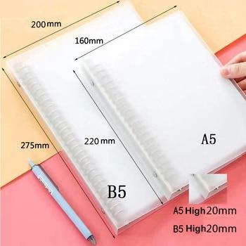 A4 A5 B5 Loose-leaf Folder Plastic Frosted Metal Binder Data File Contains Pp Loose-leaf Book File Folder 20/26/30 Hole Clip