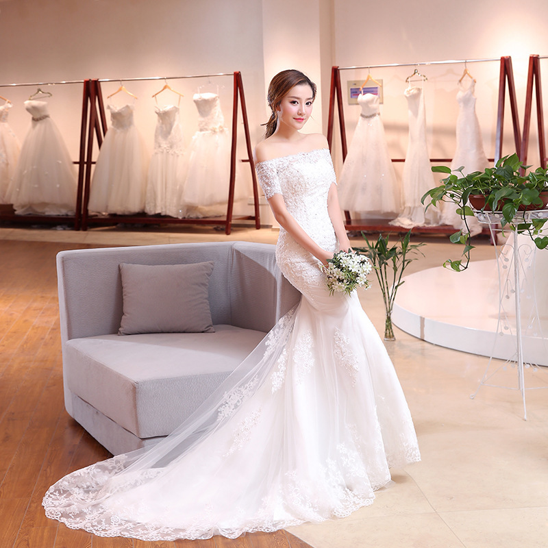 2020 Limited Cross-border Dress Trailing 2020 New Word Shoulder Fishtail Wedding Small Sleeve Cultivate Morality Is Contracted