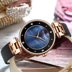 Image 3 - CURREN montre à Quartz Simple en strass, charmante, pour femmes, bracelet en cuir, horloge, collection montre pour femme