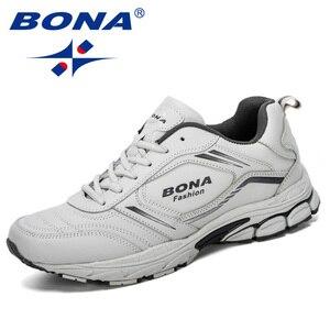 Image 4 - Мужские кроссовки из коровьего спилка BONA, черные дизайнерские кроссовки для бега, спортивная обувь, 2019