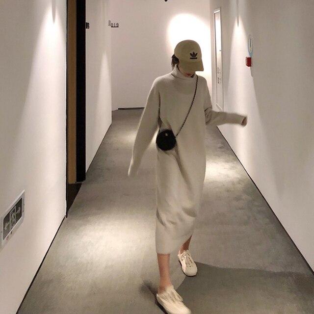 גולף קשמיר סרוג סוודר שמלת נשים סתיו אביב אטריות אלסטי ארוך שרוול עבה סוודר חורף שמלה