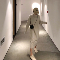 Turtleneck Knitted Sweater Dress Women Autumn Spring Noodles Elastic Long Sleeve Loose Pullover Winter Dress