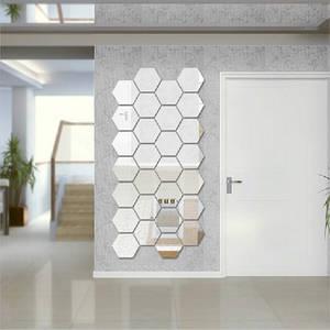 Mirror Decor Stickers Hexagon DIY Art Drop-Ship Multi-Color 12pcs/Set