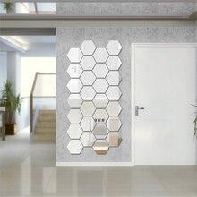 12 Pçs/set DIY 3D Hexágono do Espelho Adesivos de Parede Decoração Da Casa Espelho Decoração Adesivos de Parede Arte Decoração Adesivos Multi-cor do navio Da Gota