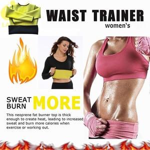 Image 3 - LAZAWG נשים חמה Neoprene חולצה סאונה זיעה חולצה כושר אימון ארוך שרוול חולצות הרזיה גוף Shaper גופייה שומן לשרוף מותניים Faja