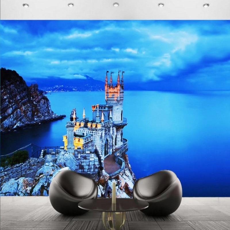 Drop Shipping Wallpaper For Walls 3 D Blue Seaside Castle Landscape Custom   Guest Room Balcony Decoration Backdrop Wall