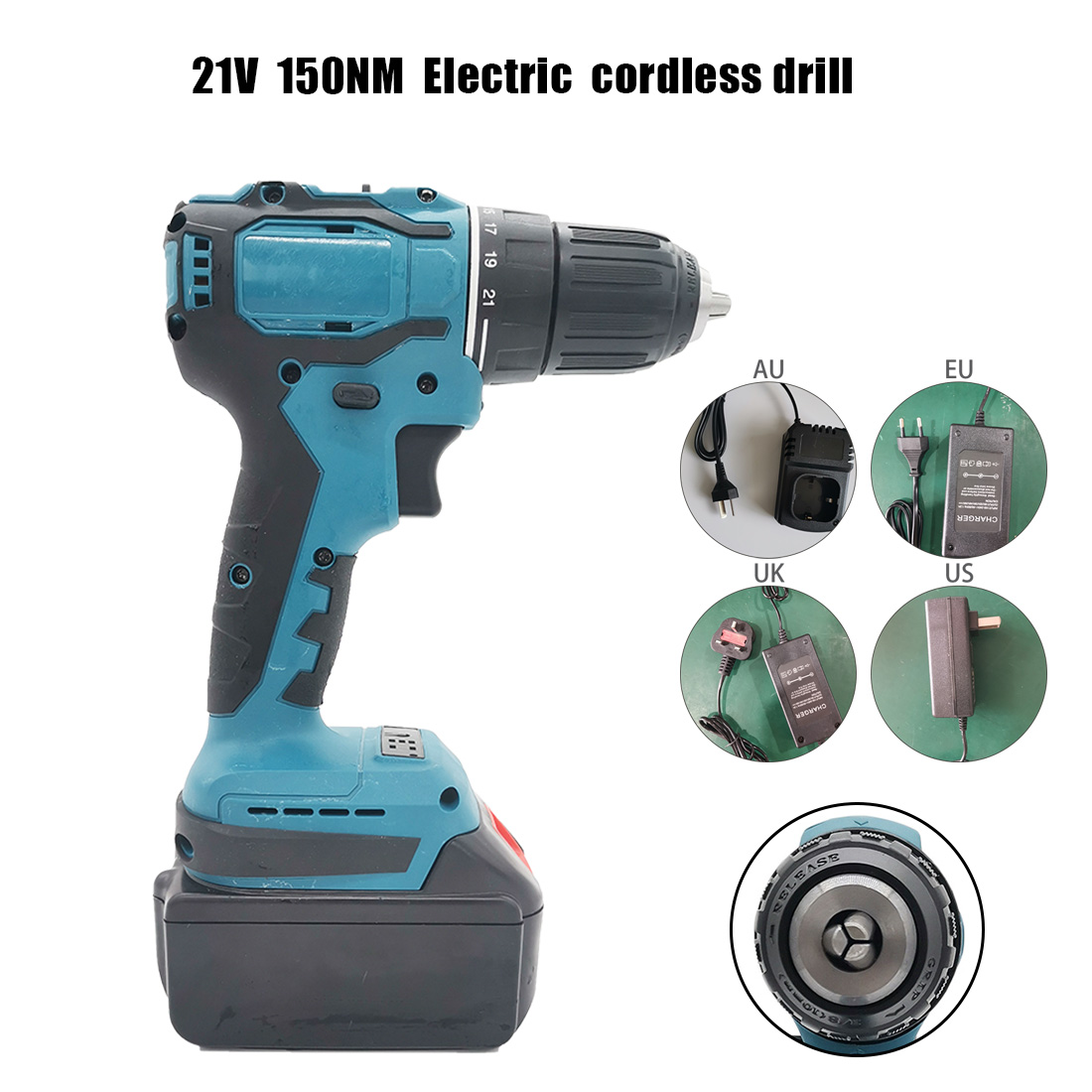 18-21V 80-150Nm Cordless Brushless Electric Impact Drill Torque Screwdriver Tool Cordless Drill+Charger+Lithium Ion Battery