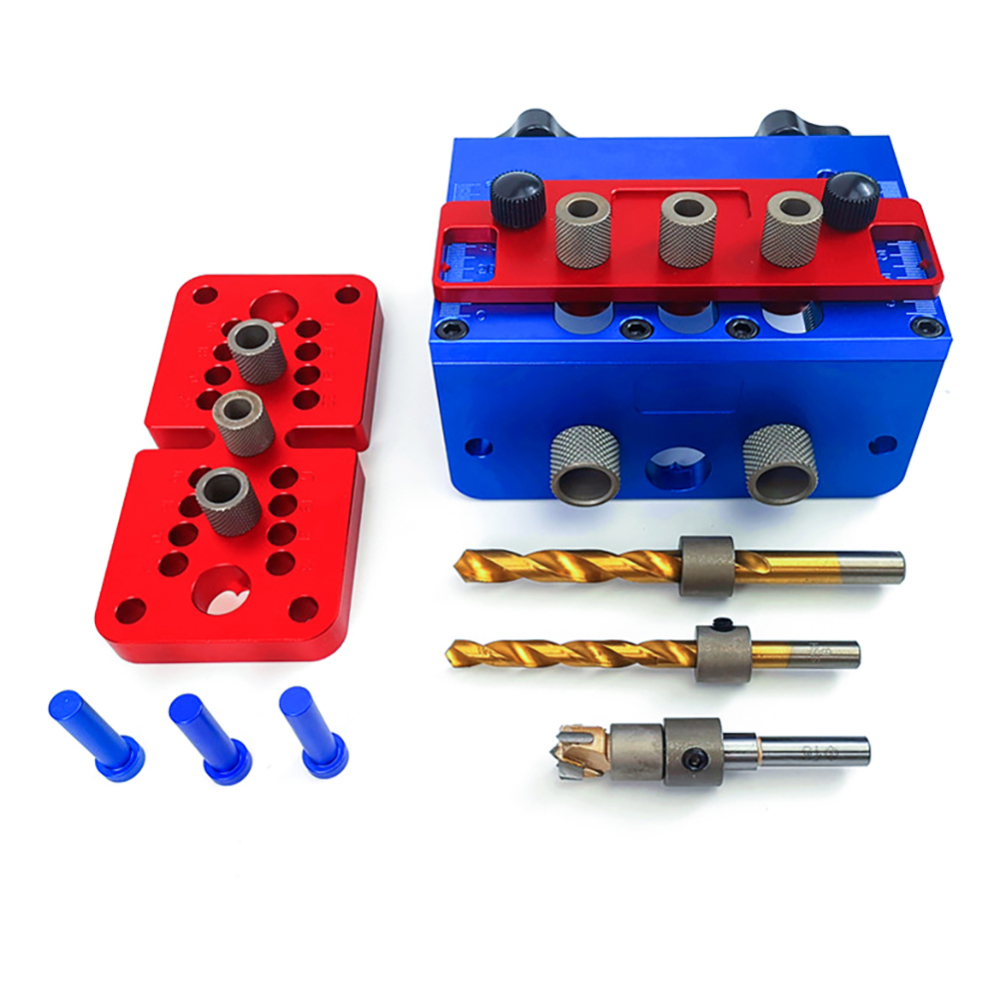 3 In 1 Aluminium alloy Woodworking Drill Guide Set Hole Puncher Dowelling Jig Self Tighen Clamp Dowel Tenon Punching Woodworking Machinery Parts     - title=