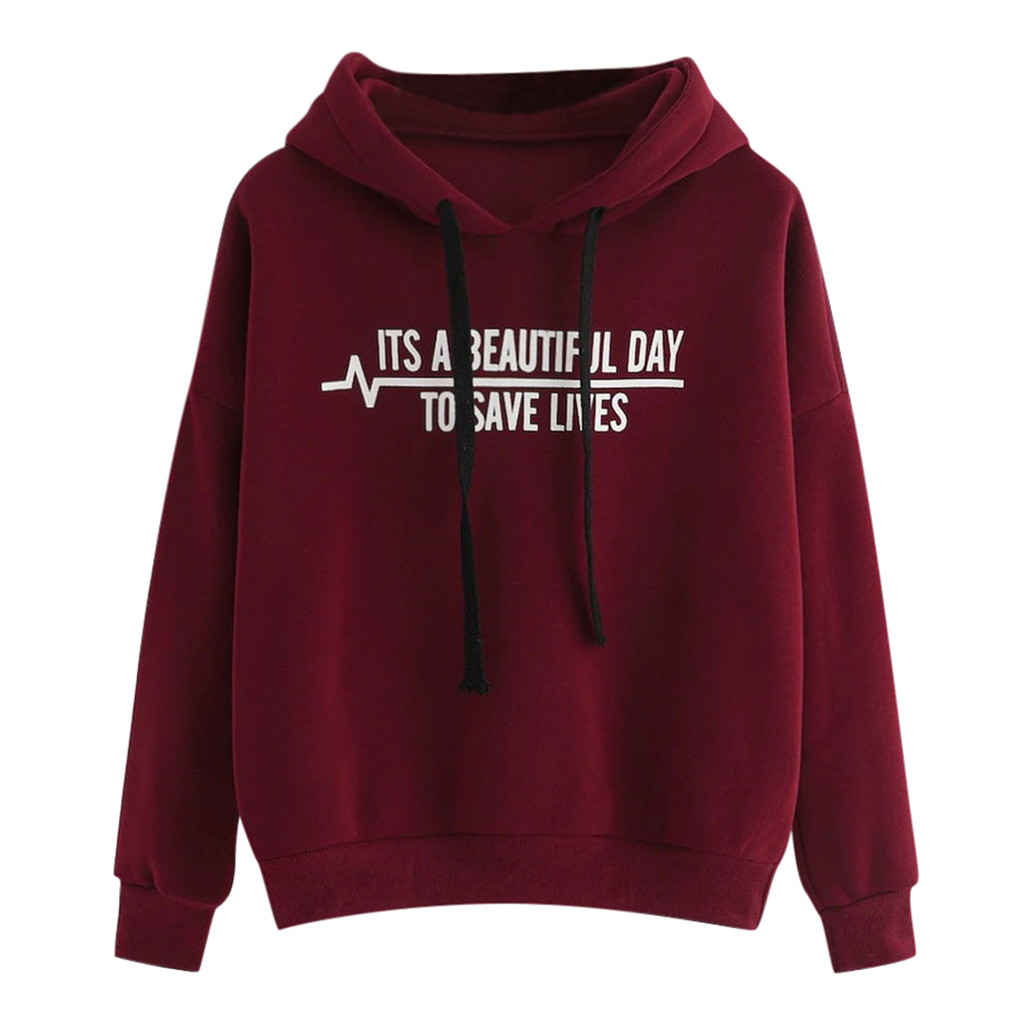 2019 Autumn Women Hoodie Casual Long Sleeve Hooded Pullover Sweatshirts Female  Letter Printed 9.9