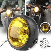 """65 """"12v черный ретро мотоцикл светодиодный фар + Гриль"""