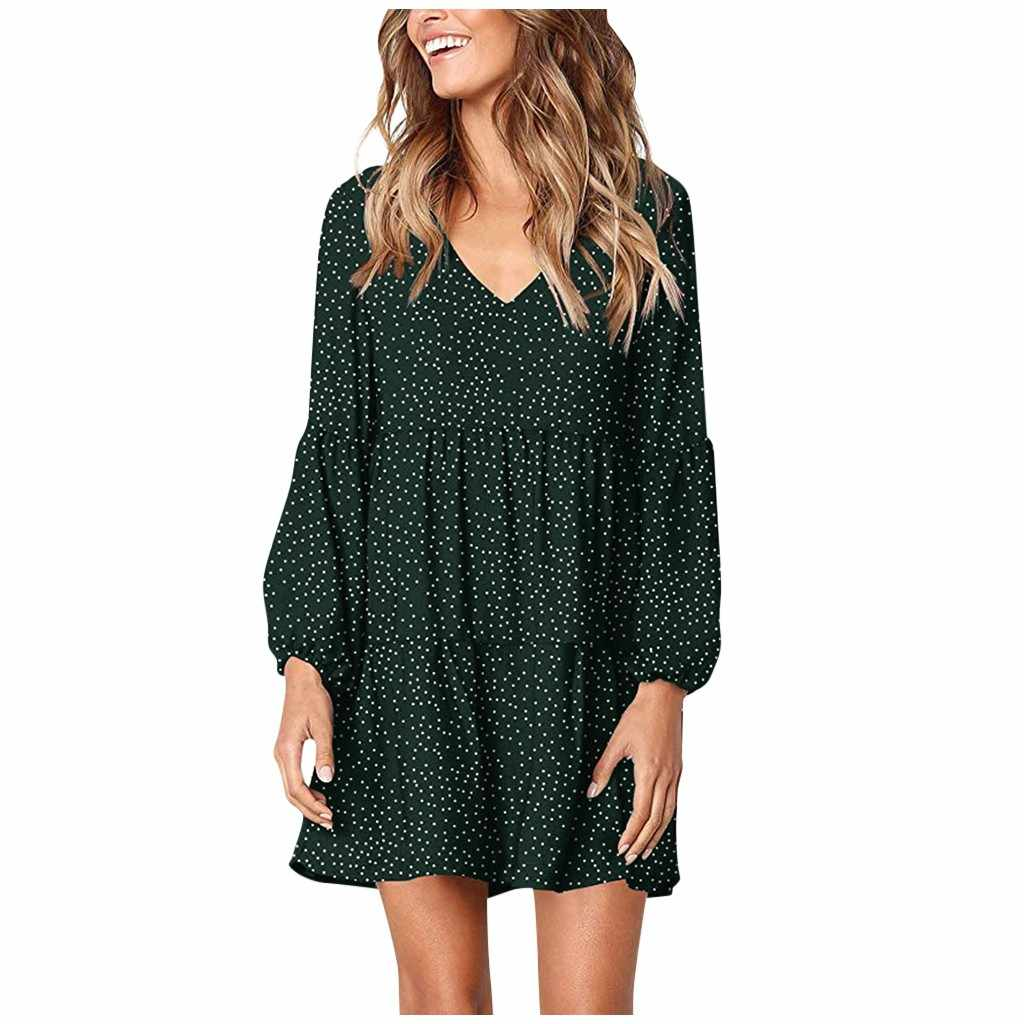 Polka Dot Dress Women Autumn Long Sleeve Casual Dress Plus Size Loose High Waist Mini Dresses Ropa Mujer E3