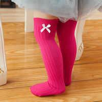 0-8T nouveau-né enfant en bas âge genou chaussettes hautes bébé filles Bow chaussette jambière 6 couleurs solides enfant en bas âge bébé fille vêtements accessoires chaussette
