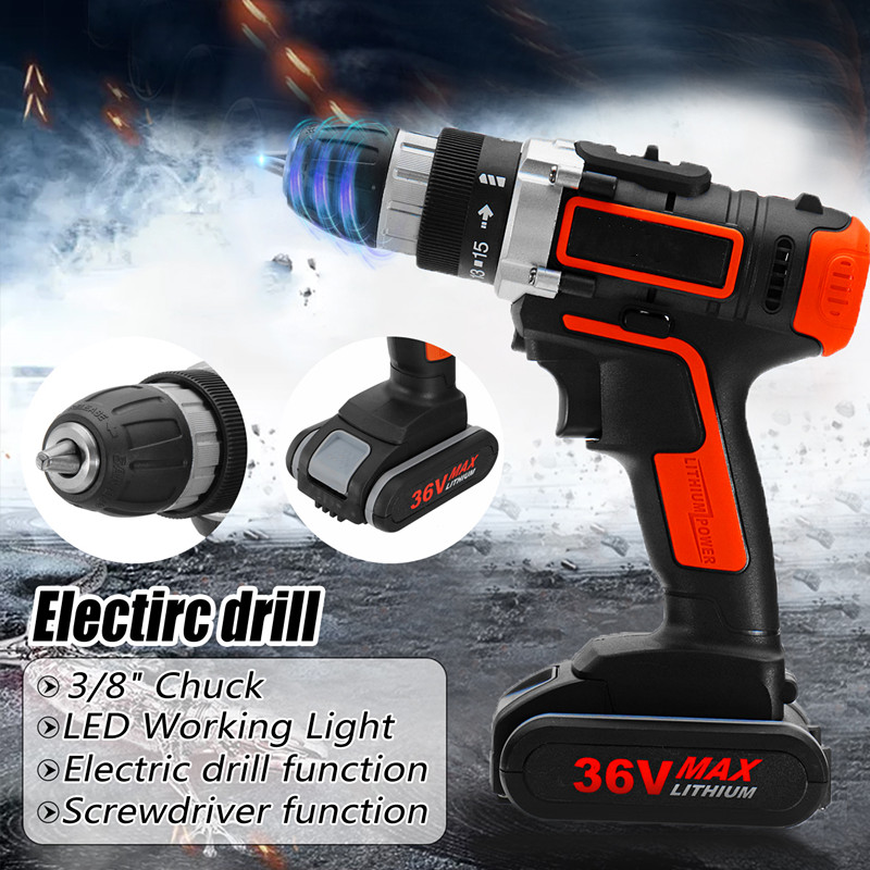 Drillpro 36V Electric Screwdriver Cordless Drill Impact Drill Mini Wireless Power Tools With 1/2 Lithium Battery Rechargeable