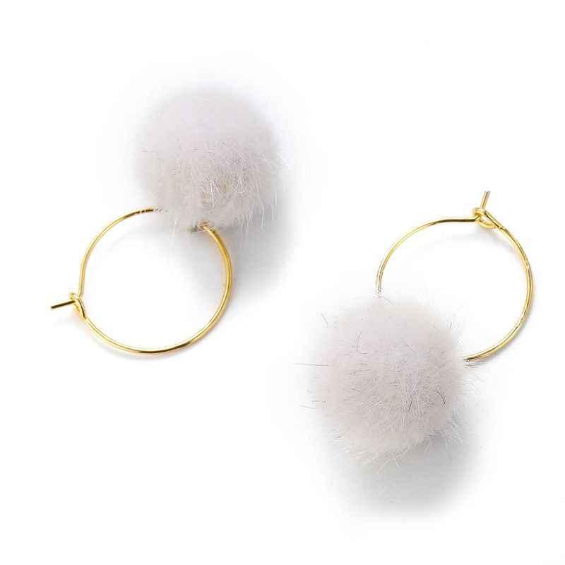 2020 แฟชั่น Hairball โลหะ Dangle ต่างหู Bijoux ง่าย Plush Ball Drop ต่างหูสำหรับผู้หญิงจี้เครื่องประดับของขวัญ
