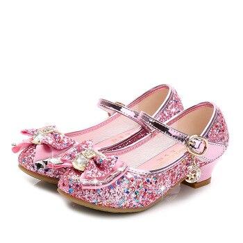 Zapatos de piel de princesa para niños, zapatos de tacón alto para niñas con brillos informales y flores 2020, zapatos de niñas Nudo de mariposa en azul, rosa y plateado
