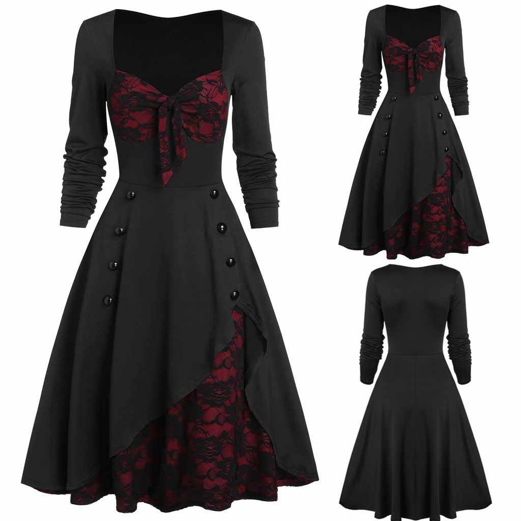 christmas dress autumn dress women Plus Size Party Dress Flower Lace Insert Mock Button Bowknot Vintage Dress ropa mujer
