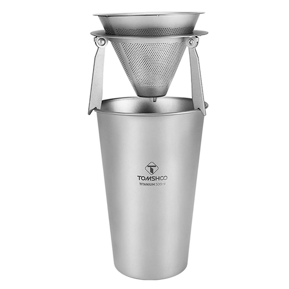TOMSHOO Titanium Single-Wall Beer Cup 17oz 500ml Ultralight Water Cup Mug Lid Handle Folding Spork For Camping BBQ Picnic