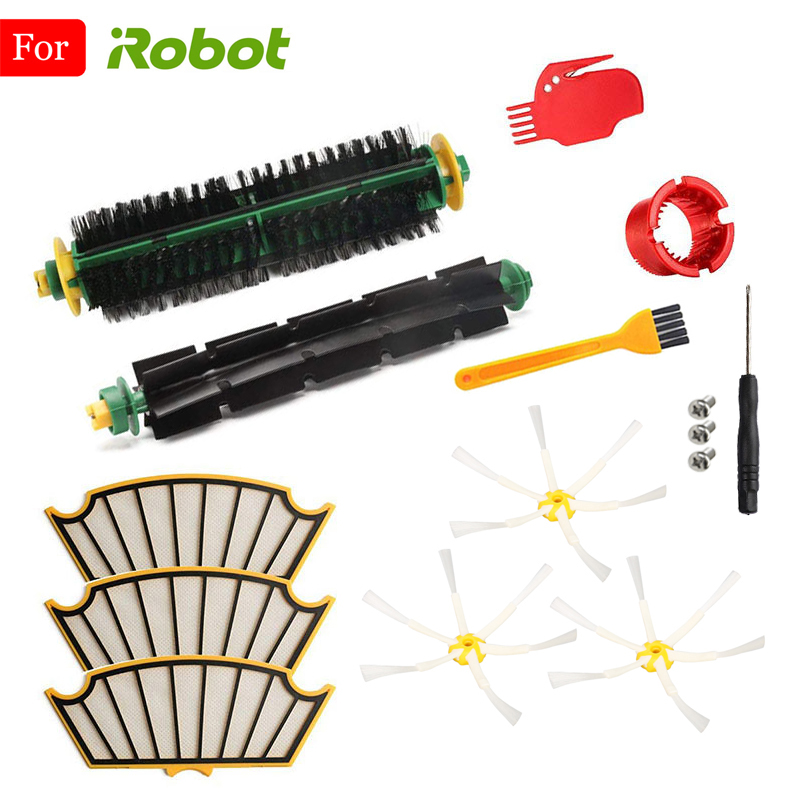 For IRobot Roomba 500 510 530 560 570 590 Series Spare Parts Bristle & Flexible Beater Brush HEPA Filter & Side Brush Clean Tool