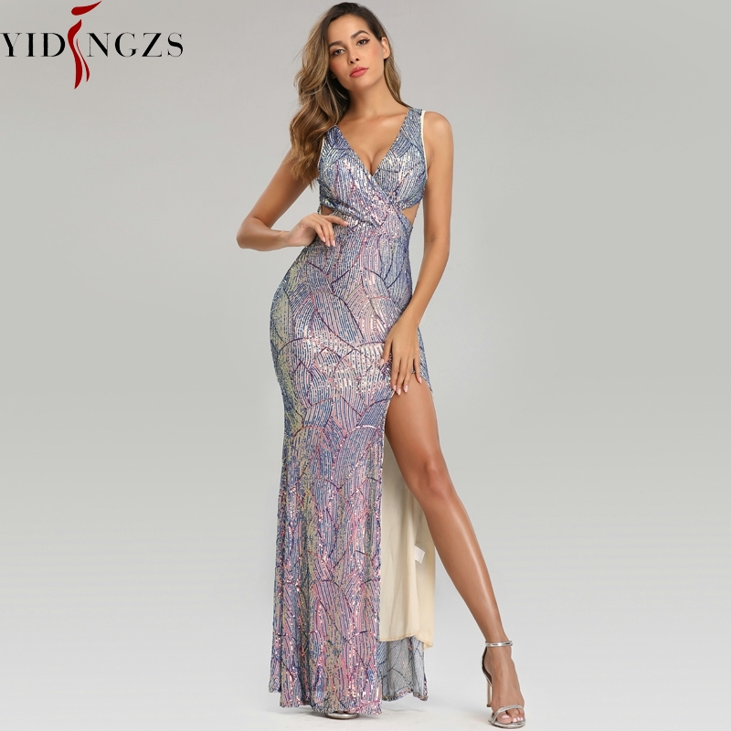 YIDINGZS Slit Sexy Sequins Evening Dress Womens V-neck Long Party Dress YD16537