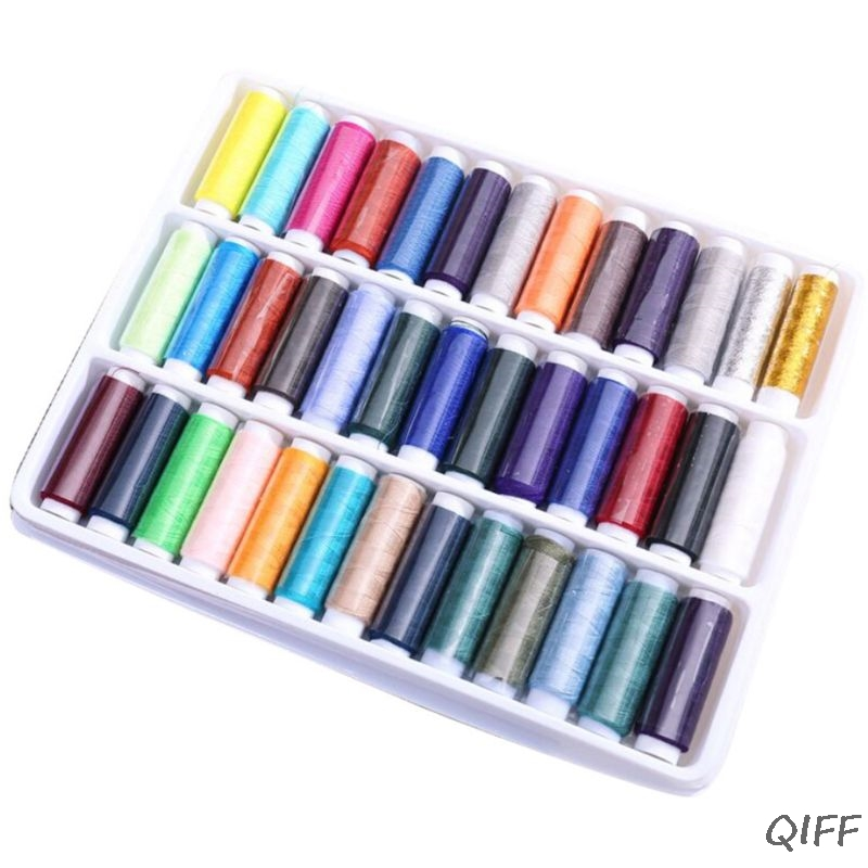 39 Assorted Color Polyester Sewing Threads Spool Set For Hand Machine Stitching