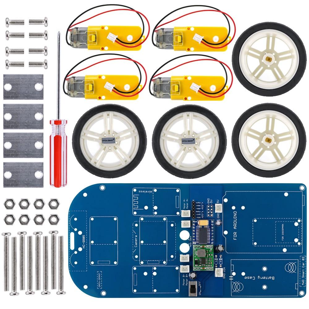 OPEN-SMART 4WD Smart Bluetooth Rubber Wheel Gear Motor Smart Car Kit W/ Tutorial For Arduino UNO R3 Nano STM32 Mega2560