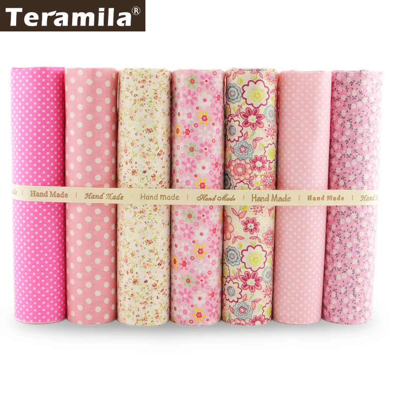 7 Piece/lot Light Pink Colors Dots and Flowers Design Patchwork 100% Cotton Fabric Fat Quaters Tissue Scrapbooking for Sewing