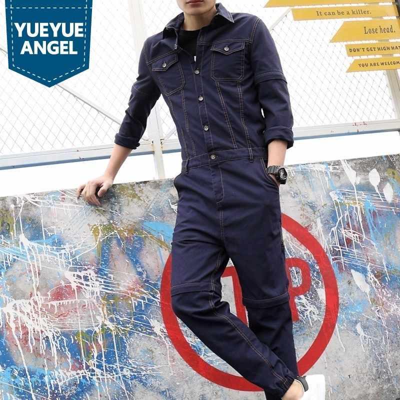 Herbst Overall Männer Casual Hosen Vintage Abnehmbare Denim Overalls Einteiliges Cargo Hosen Slim Fit Jean Overall Schwarz/ blau