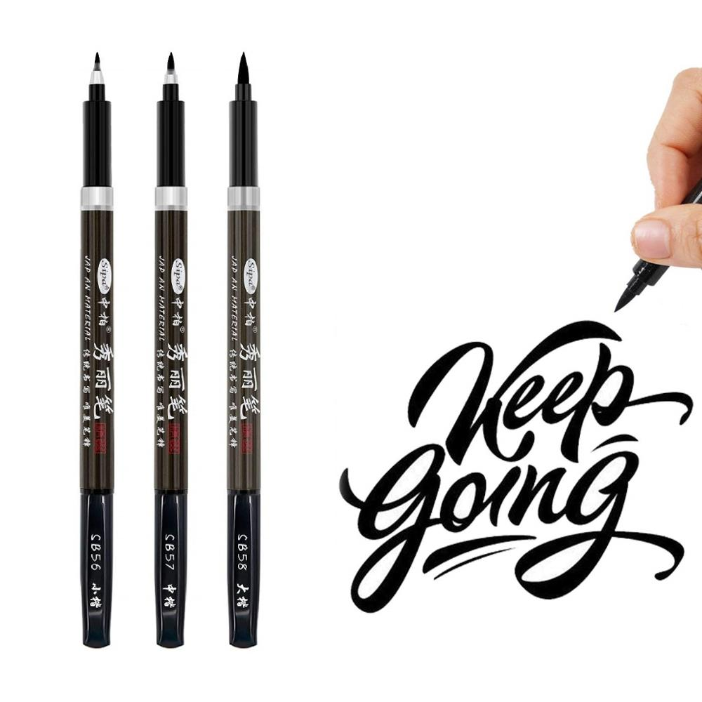3pcs Black Color Calligraphy Brush Pen Set For Signature Drawing Art Design Hand Lettering Post Card Stationery School A6867