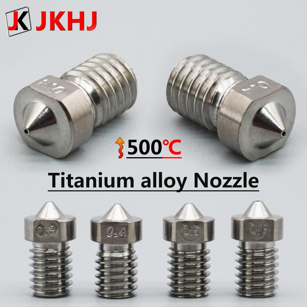 3D Printer Nozzle E3D V6 Hotend Parts Titanium Alloy Nozzle Extruder High Hardness Metal Nozzle M6 Thread 0.3/0.4/0.6/0.8 1.75mm