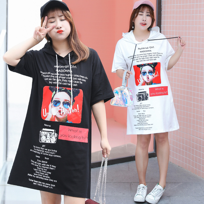 2019 Summer New Style Large Size Dress Long T-shirt Dress Cool Harajuku Hoodie Dress Fat Mm Dress 1172H