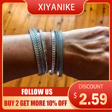 XIYANIKE 925 Sterling Silver Vintage Thai Silver Feather Leaf Bamboo Weave Bangle Bracelet Open Cuff Bangle For Women Men Gifts