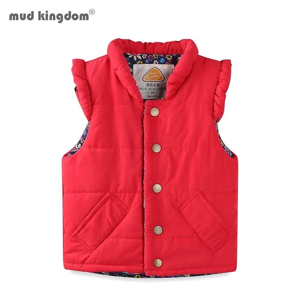 Mudkingdom Girls Vest Stand Collar Solid Sleeveless Jacket Girls Vests Winter Baby Waistcoat Kids Gilet Fille Coats 1