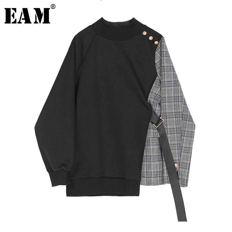 [EAM] Loose Fit Black Plaid Asymmetrical Sweatshirt New Round Neck Long Sleeve Women Big Size Fashion Tide Spring 2020 1S382 1