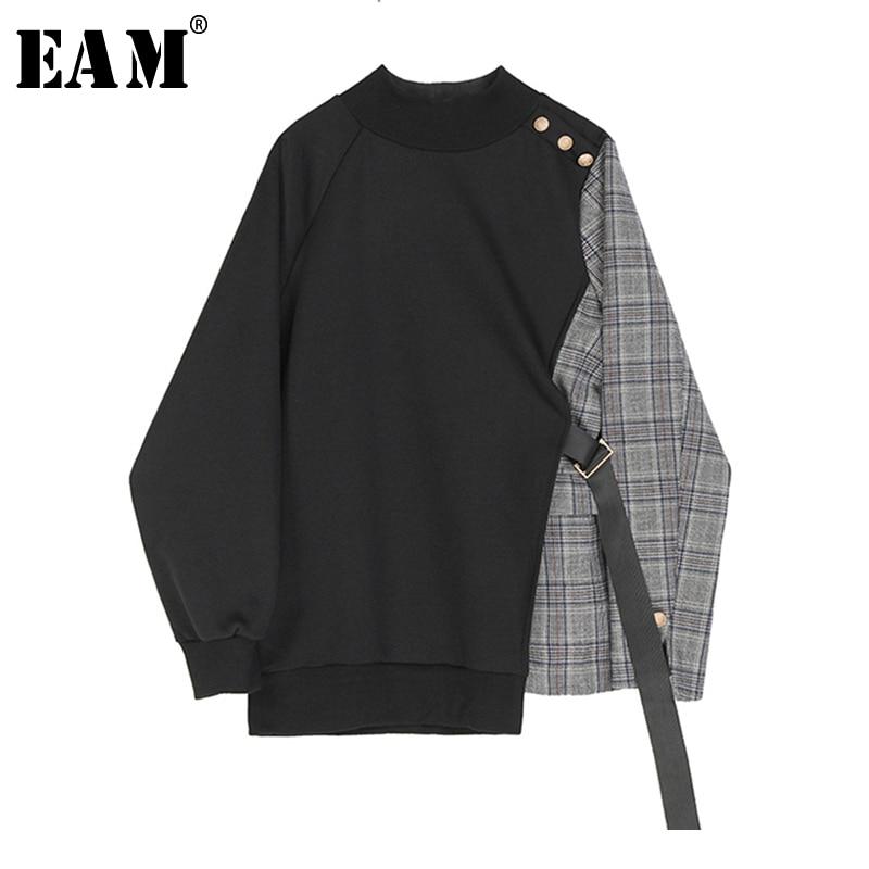 [EAM] Loose Fit Black Plaid Asymmetrical Sweatshirt New Round Neck Long Sleeve Women Big Size Fashion Tide Spring 2020 1S382