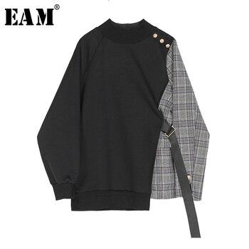[EAM]-Sudadera holgada asimétrica de cuadros negros para mujer, cuello redondo, manga larga, talla grande, moda, Primavera, 2021, 1S382