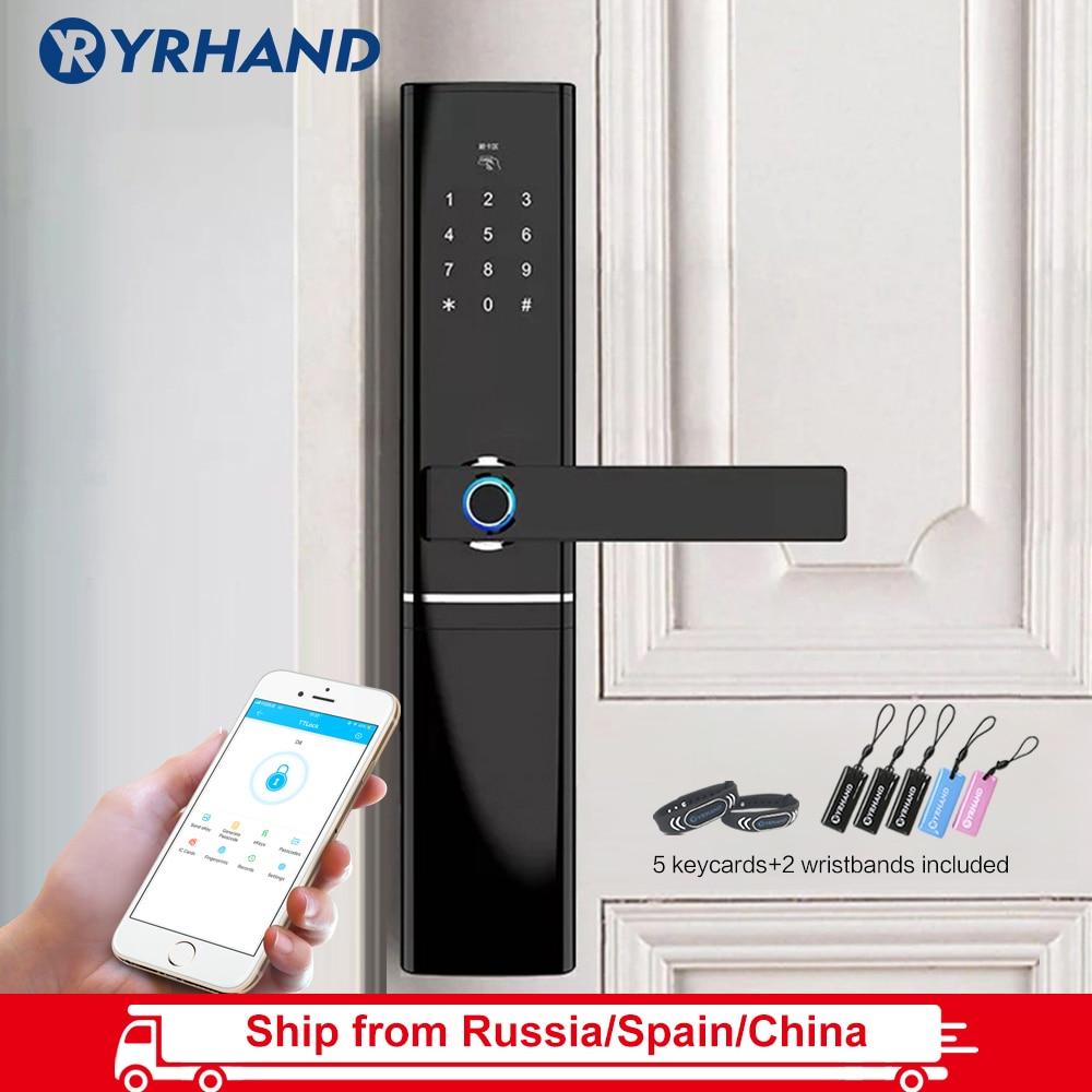 WiFi Fingerprint Door Lock, Waterproof Electronic Door Lock Intelligent Biometric Door Lock Smart Fingerprint Lock With App