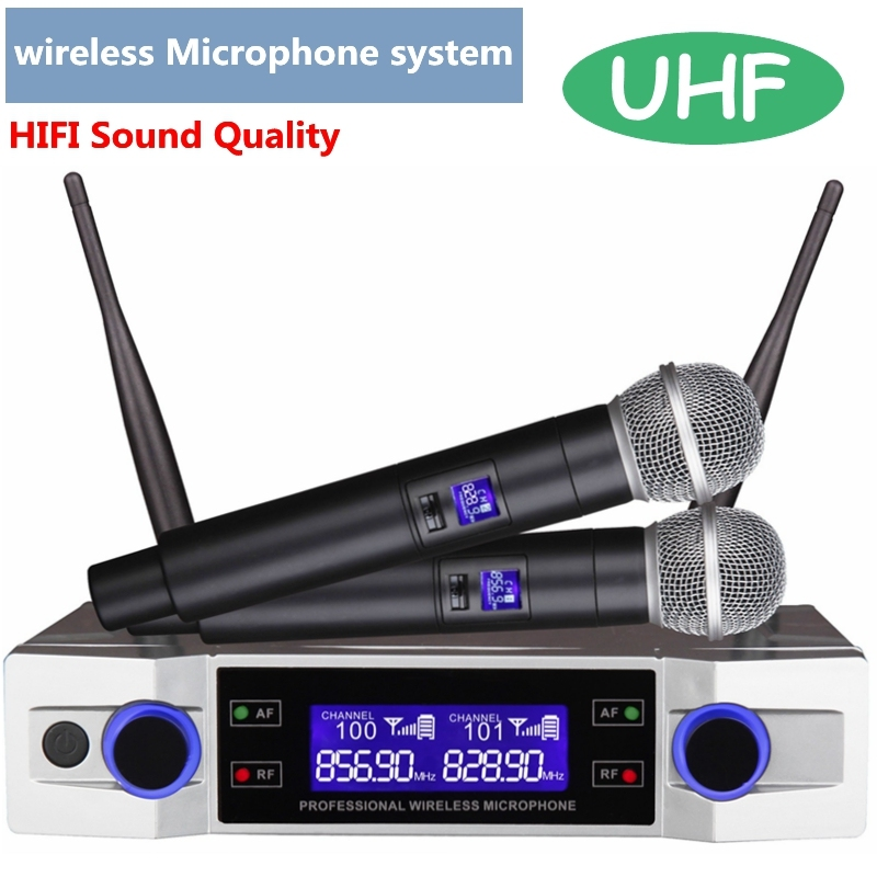 High Quality UHF Wireless Karaoke Microphone System LCD Display With Dual Handheld Mic For Party KTV New