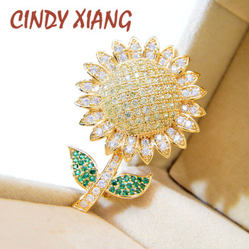 CINDY XIANG Cubic Zirconia Small Sunflower Brooches For Women Fashion Cute Flower Pin Summer Style Fashion Jewelry Collar cindy xiang colorful cubic zirconia daisy brooches for women sunflower brooch pin copper jewelry zircon corsage high quality