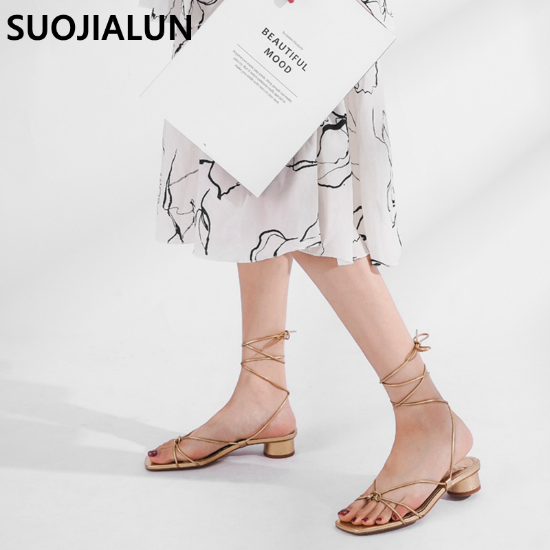 2019 New Brand Summer Low Heel Ankle Strap Sandals Elegant Narrow Band Rome Sandal Gladiator Beach Shoes Casual Lace Up Platform