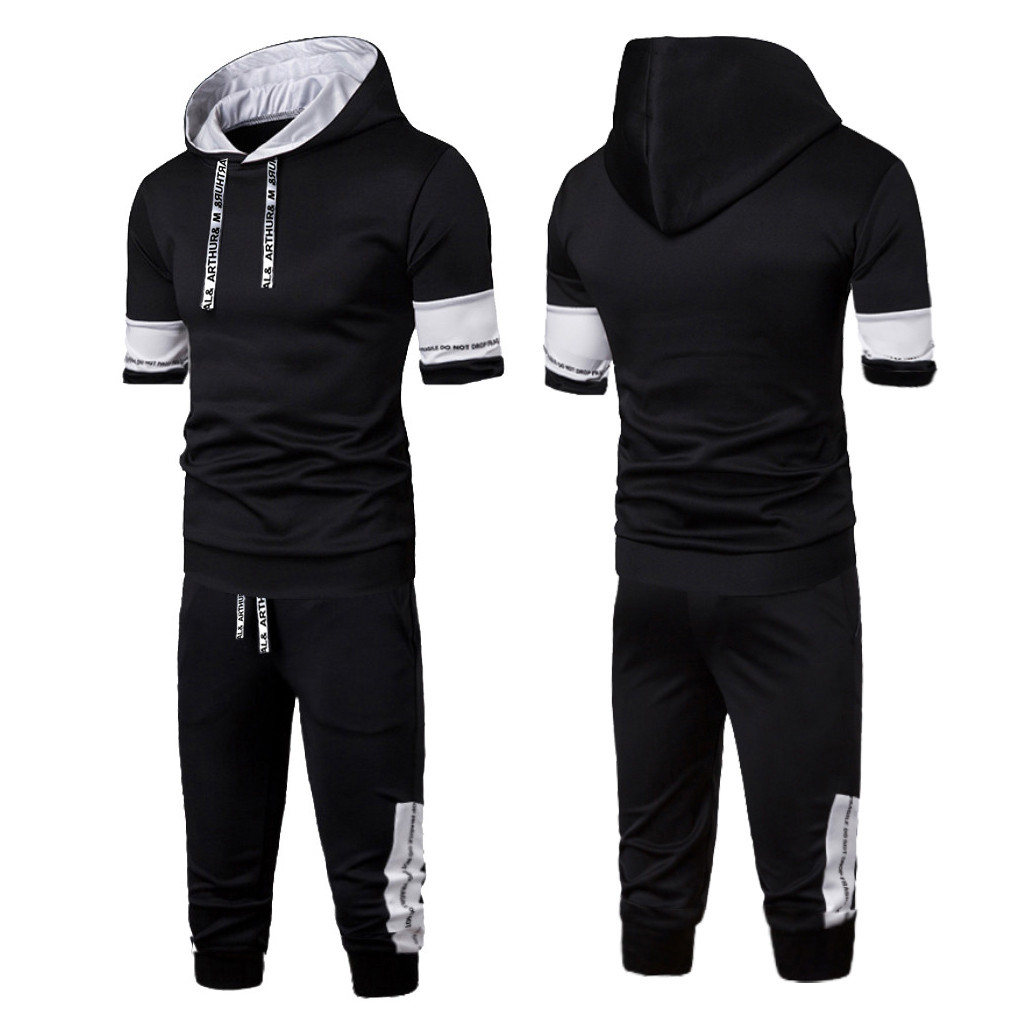 Summer New Comfortable Fashion Short Sleeve Pants Ttitching Hooded Men's Suit Tracksuit Men Brand 2 Piece Set 1.17