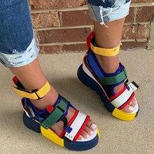 Sandals Women's Colorful Flats Platform Ladies Cool Velcro Shoes