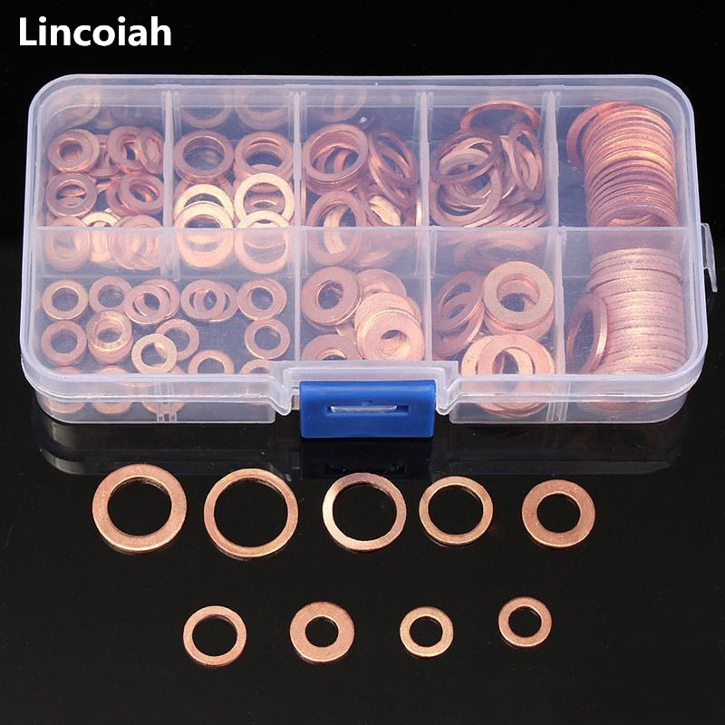 200Pcs/Set Copper Sealing Solid Gasket Washer Sump Plug Oil For Boat Crush Flat Seal Ring Tool Hardware Accessories