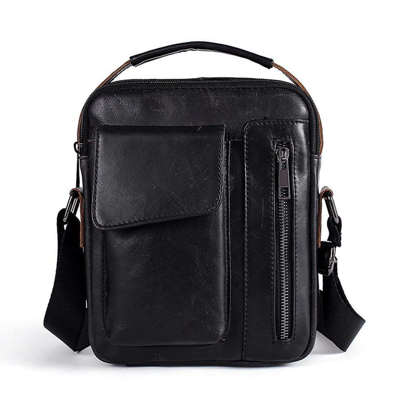 Shoulder Bag Genuine Leather For Men Briefcase Small Shoulder Bag For Casual, Business (Black)