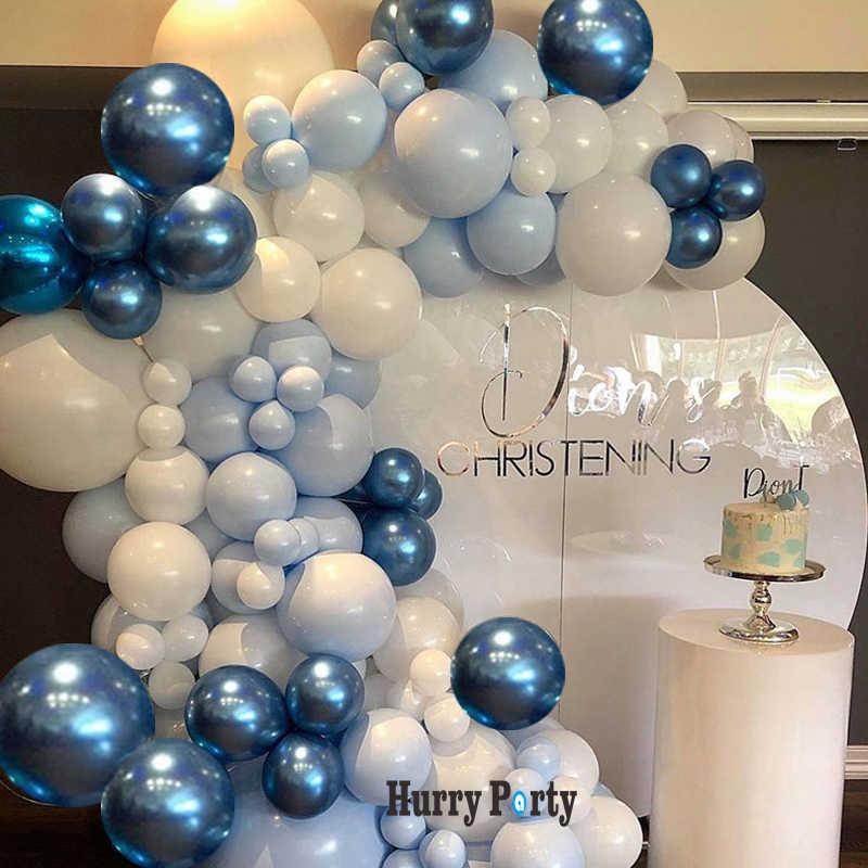 145Pcs Metallic Blue Ballon Garland Arch Kit Pastel Macaron Blue White Latex Balloons Engagement Anniversary Party Decoration