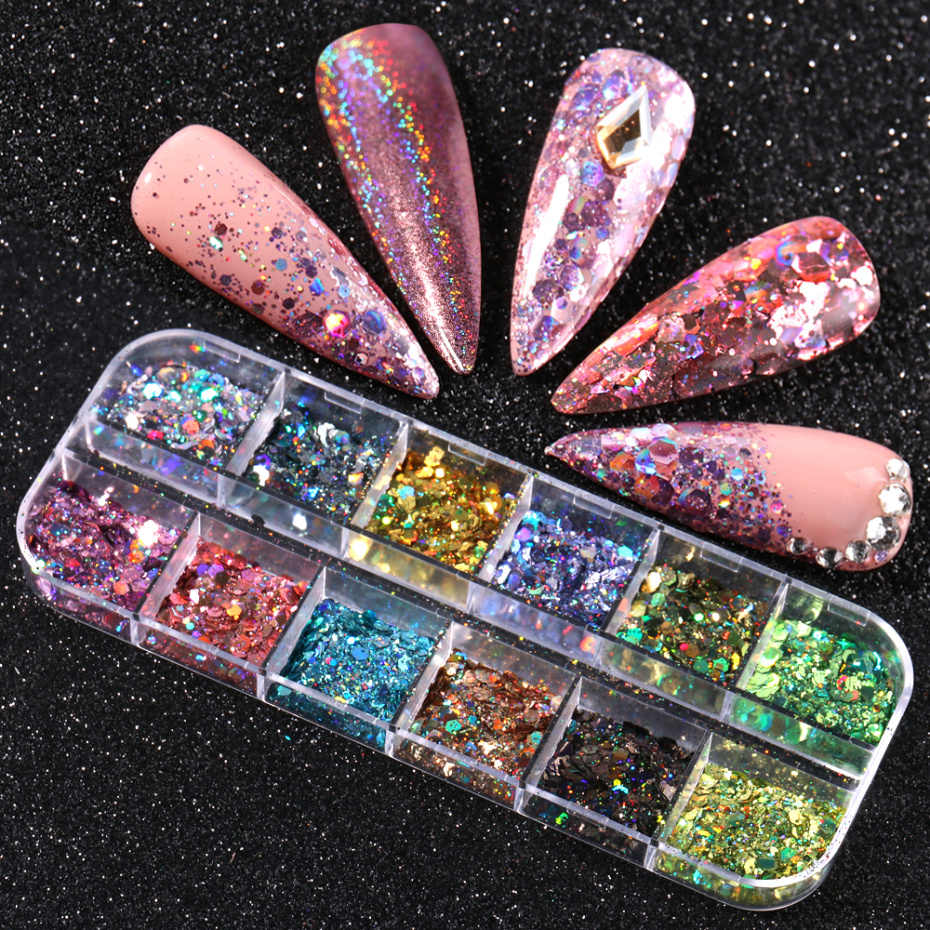 12 Grids/Set Sparkly Nail Pailletten Mix Holografische Suiker Effect Chrome Powder Acryl Nail Art Glitter Dust Accessoires LA1599