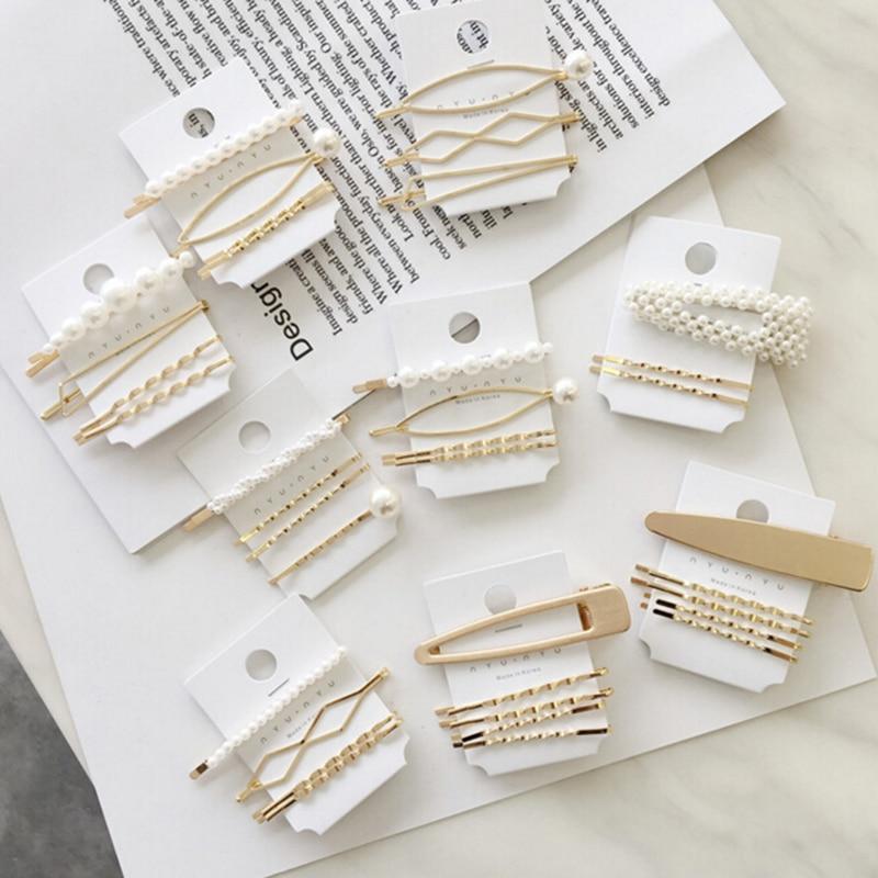 3pcs/set Hair Styling Pearl Hair Hairpins For Girls Magic Clips Pearl Metal Hair Clips Hair Clip Pin Hairpin Accessories