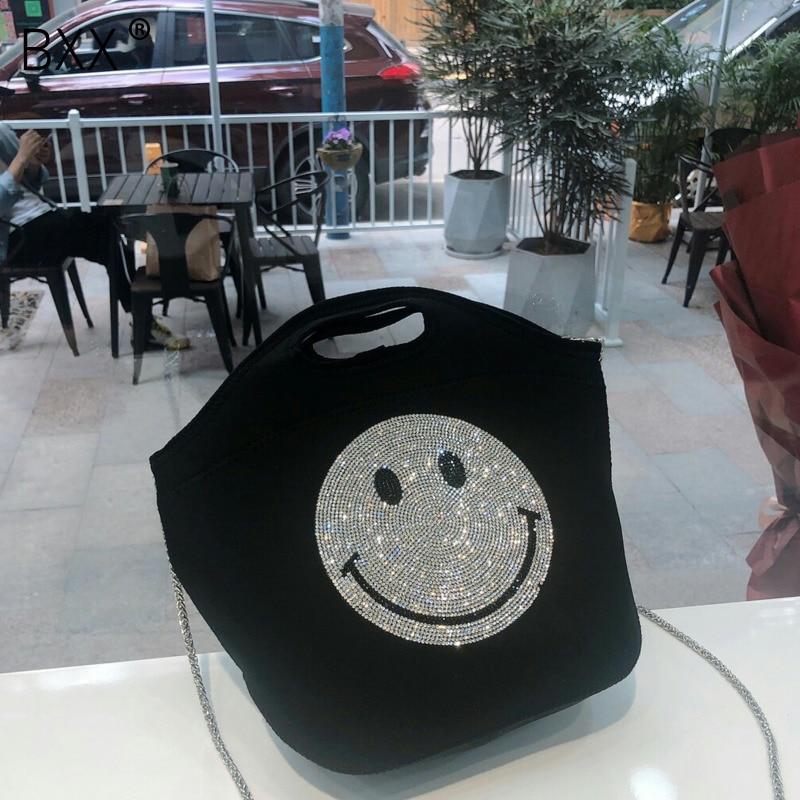 [BXX] Women Smile Design Crossbody Bag For Women 2020 Spring Rhinestone Simple Female Shoulder Messenger Bag Lady Handbags HK068